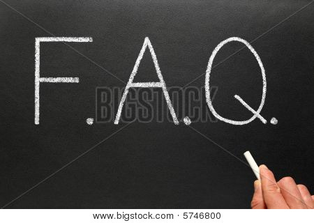 Faq, Frequently Asked Questions Abbreviation, Written On A Blackboard.