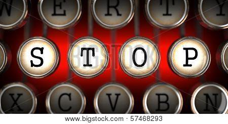 Stop on Old Typewriter's Keys.