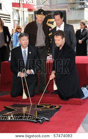Leron Gubler, Ron Howard, Russell Crowe and Brian Grazer at the Russell Crowe star ceremony into the Hollywood Walk of Fame, Hollywood, CA 04-12-10