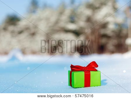 Gift In Snow Covered Forest