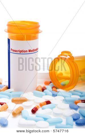 Prescription Drugs Over White