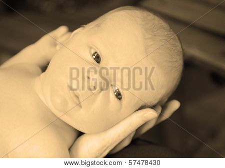 Beautiful And Serious Newborn Baby In Sepia