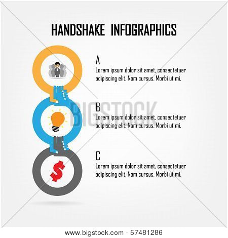 Handshake Abstract Sign Vector Design Template.
