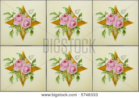 Antique Nyonya Tiles With Pink Roses