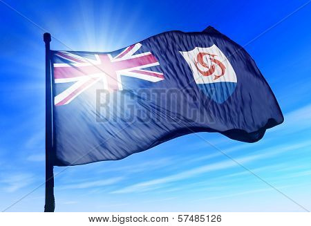 Anguilla flag waving on the wind