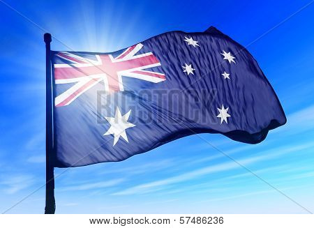 Australia flag waving on the wind