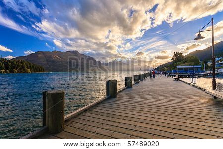 Wooden pier with beautiful lake Wakatipu Queenstown