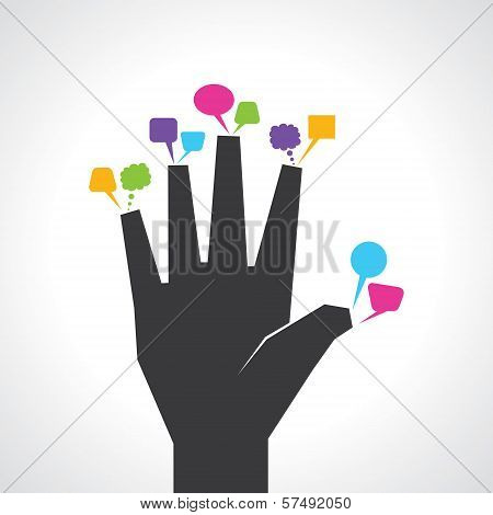 hand with colorful message bubbles