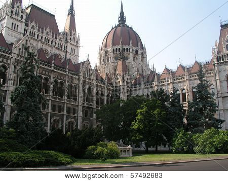 Close-Up of the Hungarian Parliament Building