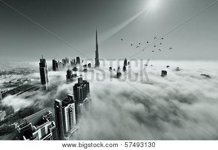 Dubai city during winter fog