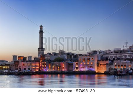 Old Dubai Abra Creek in twlight, Dubai United Arab Emirates