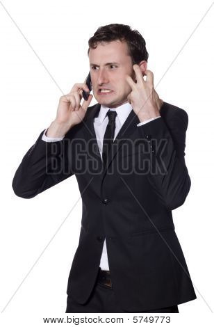 Businessman Angry Screaming At The Phone