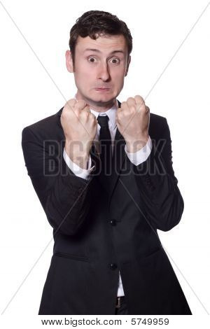 Businessman Showing Boxing Gesture