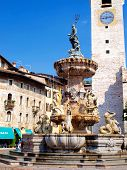 Historic Fountain In The Cathedral Square Of Trento