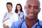 stock photo of woman couple  - African American Man and Woman Medical Workers - JPG