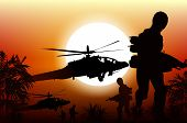 stock photo of helicopter  - Soldiers in Action - JPG