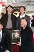 Ron Howard, Russell Crowe and Brian Grazer at the Russell Crowe star ceremony into the Hollywood Wal