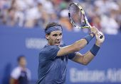 Twelve times Grand Slam champion Rafael Nadal during his fourth round match at US Open 2013