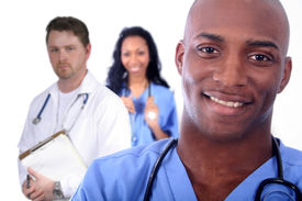 image of rn  - African American Man and Woman Medical Workers - JPG