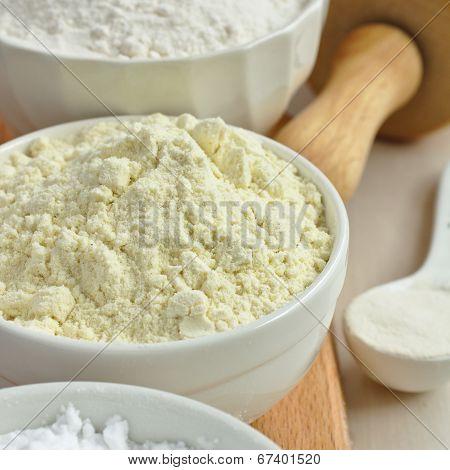 Gluten Free Millet Flour In White Bowl
