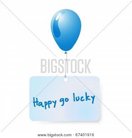 Balloon With Happy Go Lucky  Tag Vector.eps
