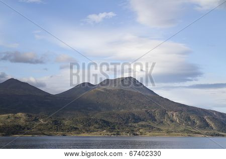 Mountain Range In South America In Tierra Del Fuego On The Shore Of The Beagle