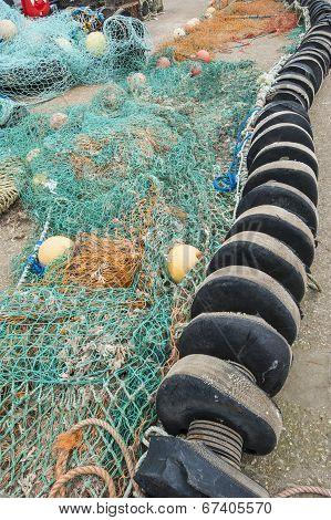 Fishing Nets Lying On Quayside
