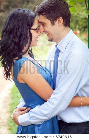Cute Couple Sharing A Romantic Intimate Moment