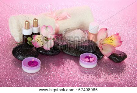 Set for an aromatherapy, candles and terry towel
