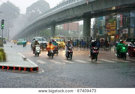 Traffic Of Asia City In Raining Season