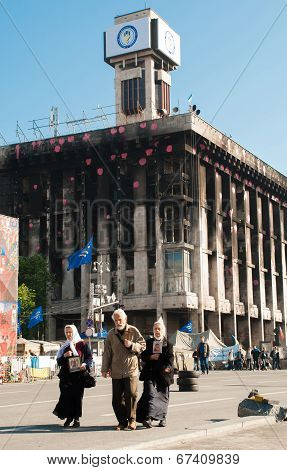 Kiev, Ukraine - May 12, 2014: Ukrainian Revolution. Euromaidan. Church Father With Burnt Trade Union