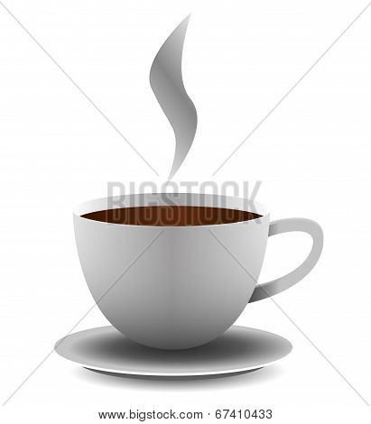 Vector Cup Of Coffee On White Background.
