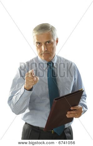Serious Middle Aged Businessman Pointing
