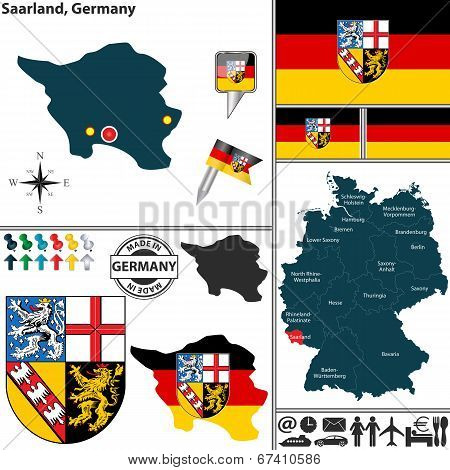 Map Of Saarland, Germany