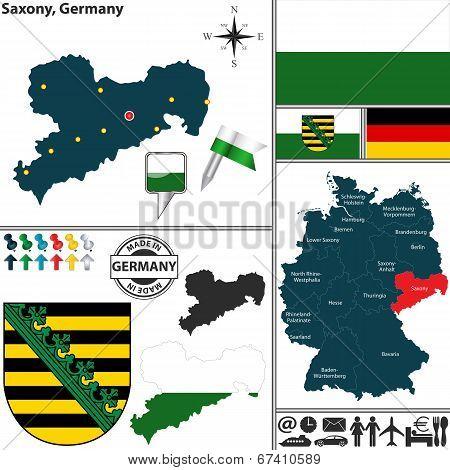 Map Of Saxony, Germany