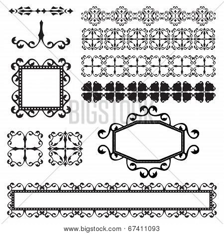 Vector Collection Of Ornamental Elements Isolated On White
