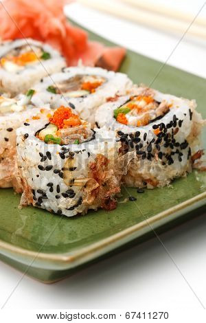 Sushi Set: Sushi Rolls With Rice, Fish And Seaweed