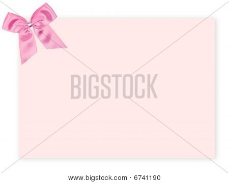 Blank Pink Gift Tag With A Bow