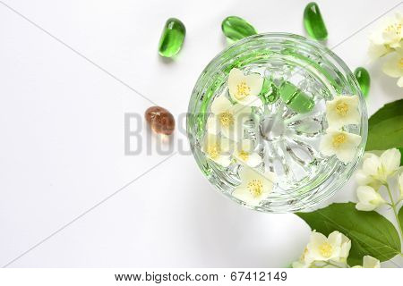 Bowl with water jasmine flowers, SPA concept