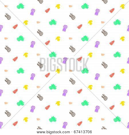 Tropical ditsy pattern with fruits and leafs