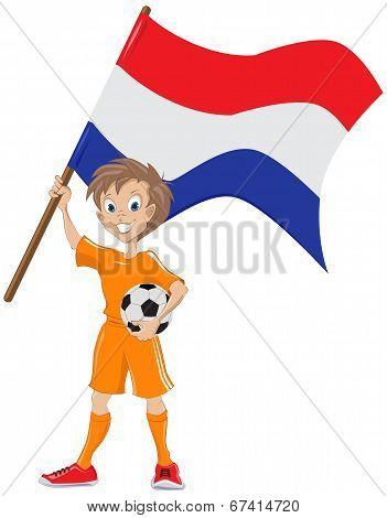 Happy soccer fan holds Holland flag. Vector cartoon