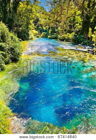 Blue Eye is a water spring discharge between 2 and 18 m3 / s. Delvine district, Albania.