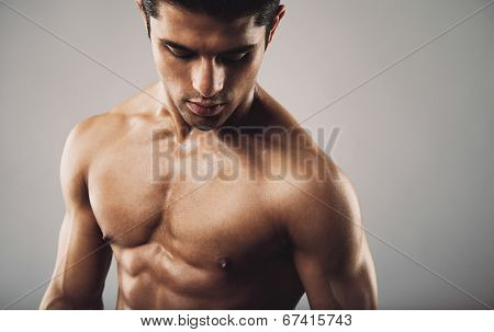 Hispanic Fitness Model On Grey Background