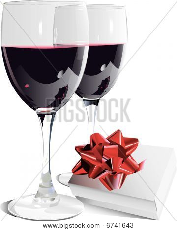 Wine bottle, two Glasses and gift with bow-eps