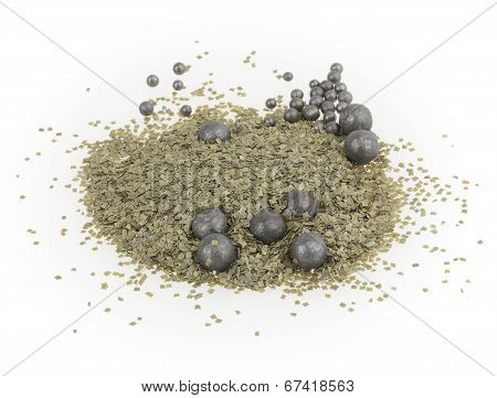 Green Gunpowder On White Background