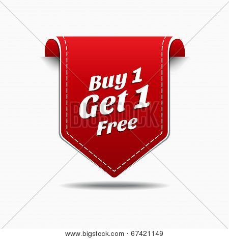 Buy 1 Get 1 Red Label Icon Vector Design