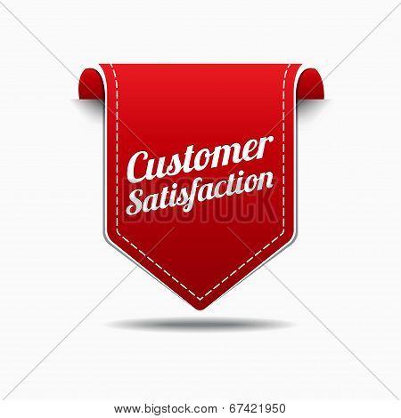 Customer Satisfaction Red Label Icon Vector Design