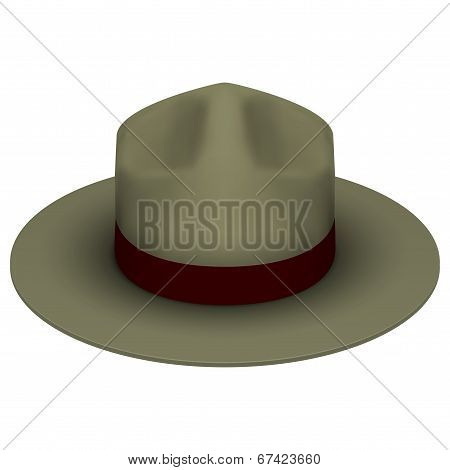 Ranger hat khaki green color. Isolated on white background. Bitmap copy.