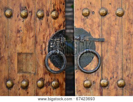 Close-up of traditional Chinese wooden doors