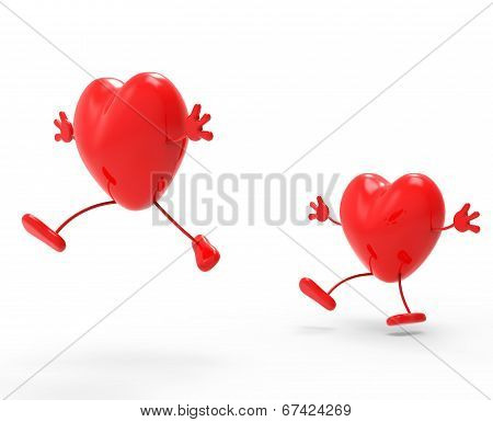 Hearts Love Represents Valentine's Day And Dating